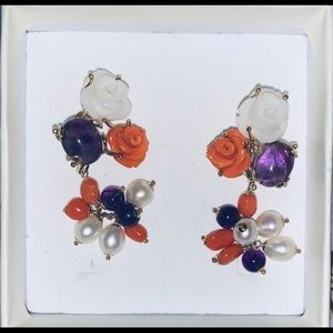 Italian 18k earrings with natural stones